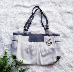 Coach pleat eastwest gallery leather shoulder bag